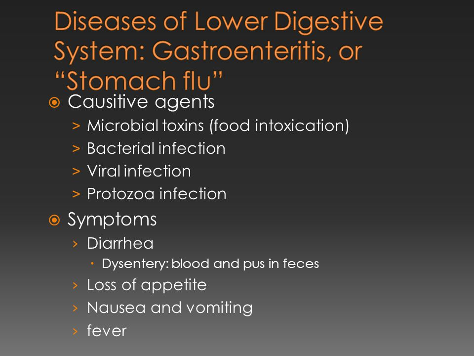  Causitive agents > Microbial toxins (food intoxication) > Bacterial infection > Viral infection > Protozoa infection  Symptoms › Diarrhea  Dysente