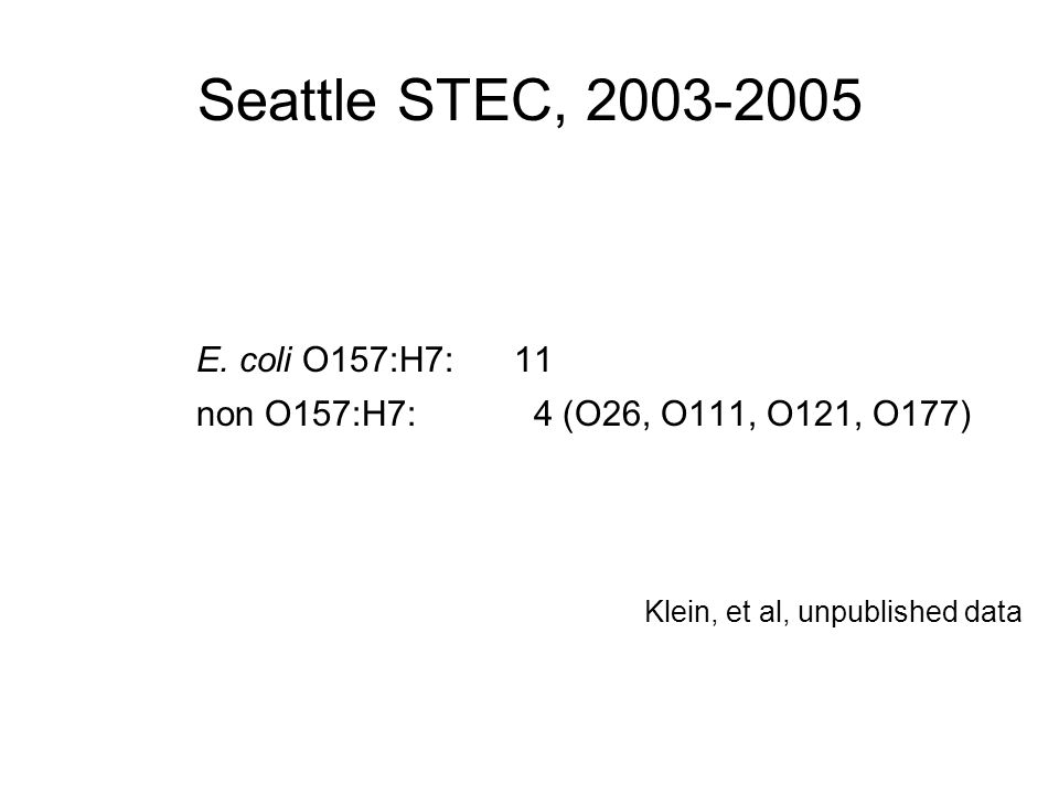 Seattle STEC, 2003-2005 E. coli O157:H7: 11 non O157:H7: 4 (O26, O111, O121, O177) Klein, et al, unpublished data