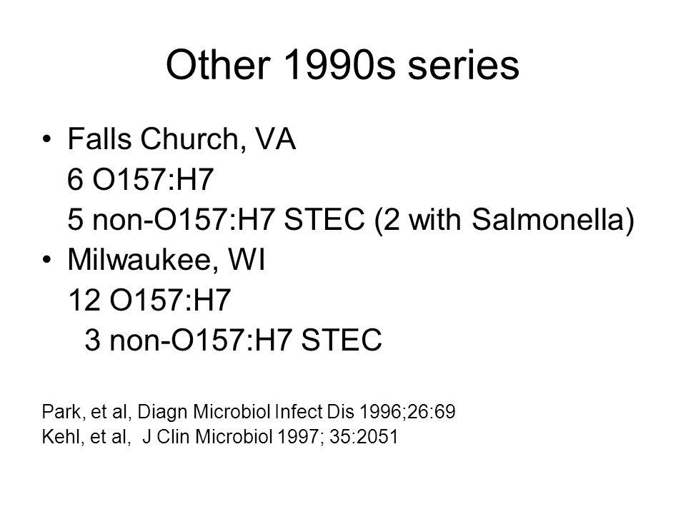 Other 1990s series Falls Church, VA 6 O157:H7 5 non-O157:H7 STEC (2 with Salmonella) Milwaukee, WI 12 O157:H7 3 non-O157:H7 STEC Park, et al, Diagn Microbiol Infect Dis 1996;26:69 Kehl, et al, J Clin Microbiol 1997; 35:2051