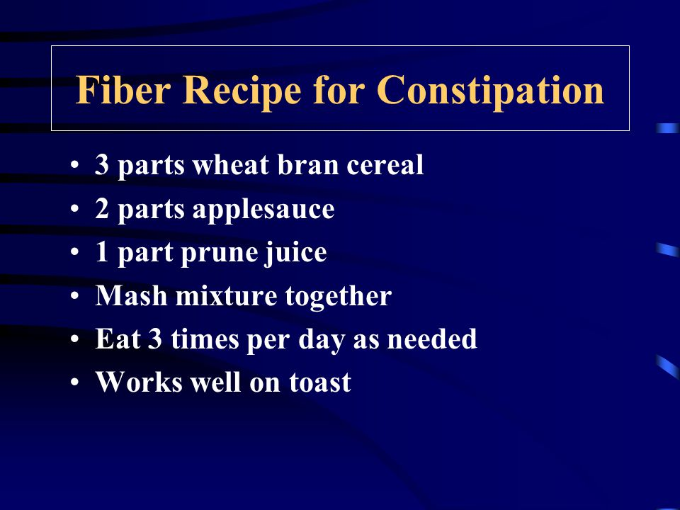 Fiber Recipe for Constipation 3 parts wheat bran cereal 2 parts applesauce 1 part prune juice Mash mixture together Eat 3 times per day as needed Works well on toast