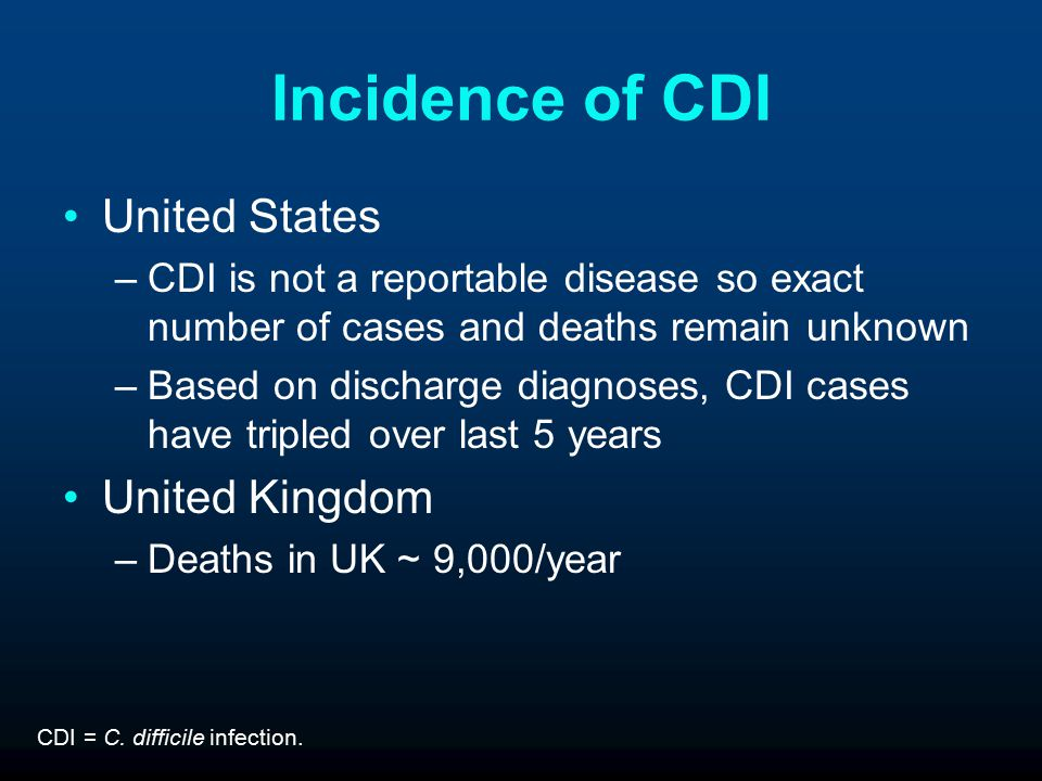 Incidence of CDI United States –CDI is not a reportable disease so exact number of cases and deaths remain unknown –Based on discharge diagnoses, CDI cases have tripled over last 5 years United Kingdom –Deaths in UK ~ 9,000/year CDI = C.