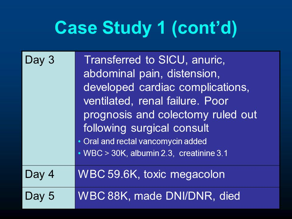Case Study 1 (cont'd) Day 3 Transferred to SICU, anuric, abdominal pain, distension, developed cardiac complications, ventilated, renal failure.