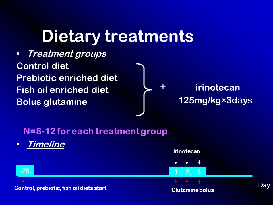 Dietary treatments Treatment groups Control diet Prebiotic enriched diet Fish oil enriched diet Bolus glutamine Timeline + irinotecan 125mg/kg×3days -28 1, 2, 3 Day irinotecan Control, prebiotic, fish oil diets start Glutamine bolus N=8-12 for each treatment group