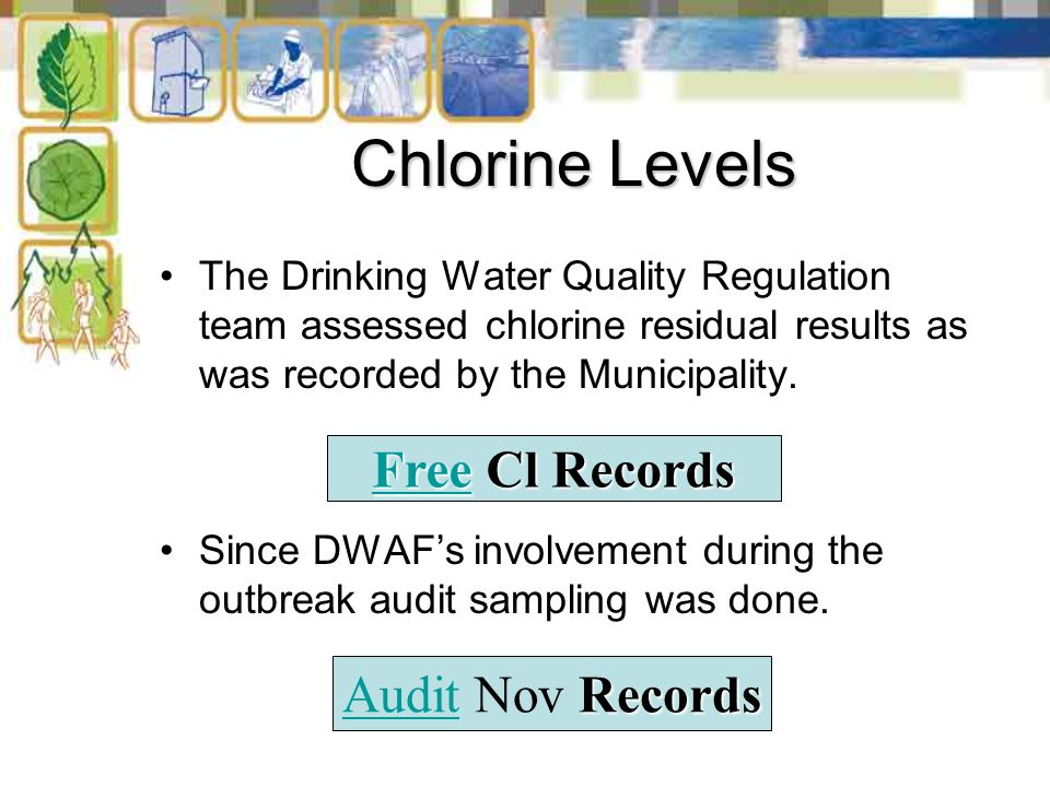 Chlorine Levels The Drinking Water Quality Regulation team assessed chlorine residual results as was recorded by the Municipality.