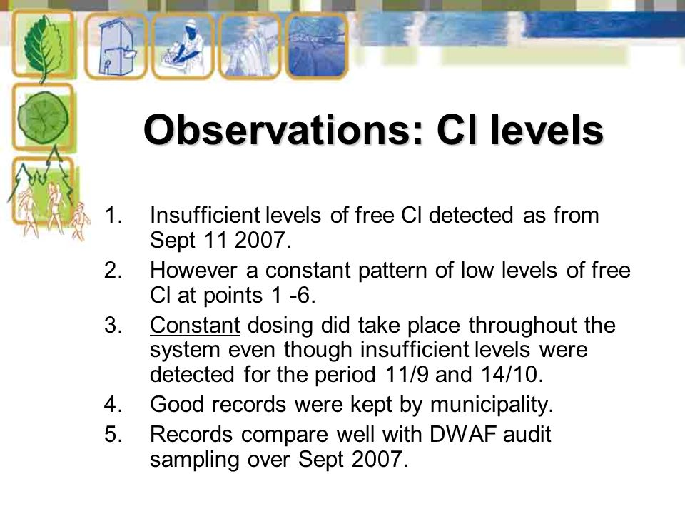 Observations: Cl levels 1.Insufficient levels of free Cl detected as from Sept 11 2007.