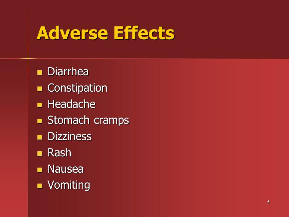 6 Adverse Effects Diarrhea Diarrhea Constipation Constipation Headache Headache Stomach cramps Stomach cramps Dizziness Dizziness Rash Rash Nausea Nausea Vomiting Vomiting