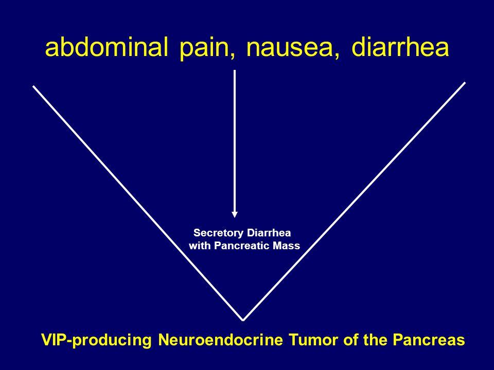 abdominal pain, nausea, diarrhea VIP-producing Neuroendocrine Tumor of the Pancreas Secretory Diarrhea with Pancreatic Mass