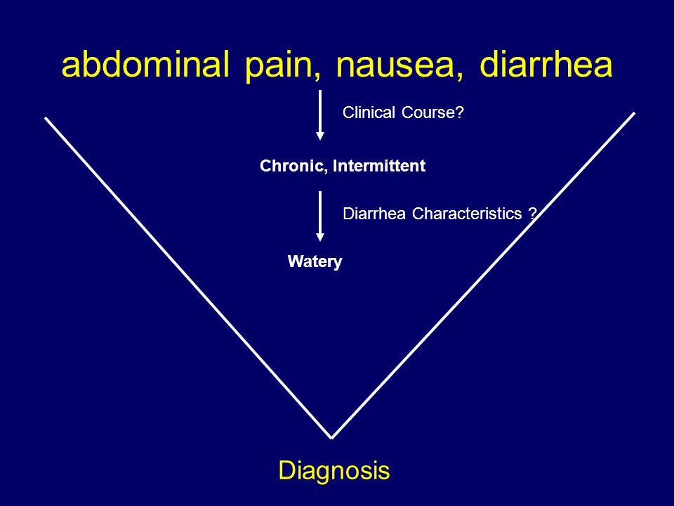 abdominal pain, nausea, diarrhea Diagnosis Clinical Course? Chronic, Intermittent Diarrhea Characteristics ? Watery