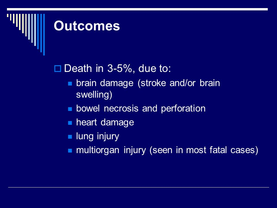 Outcomes  Death in 3-5%, due to: brain damage (stroke and/or brain swelling) bowel necrosis and perforation heart damage lung injury multiorgan injury (seen in most fatal cases)