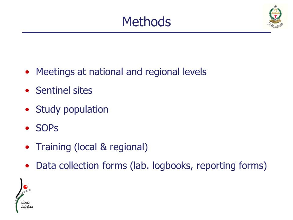 Methods Meetings at national and regional levels Sentinel sites Study population SOPs Training (local & regional) Data collection forms (lab. logbooks
