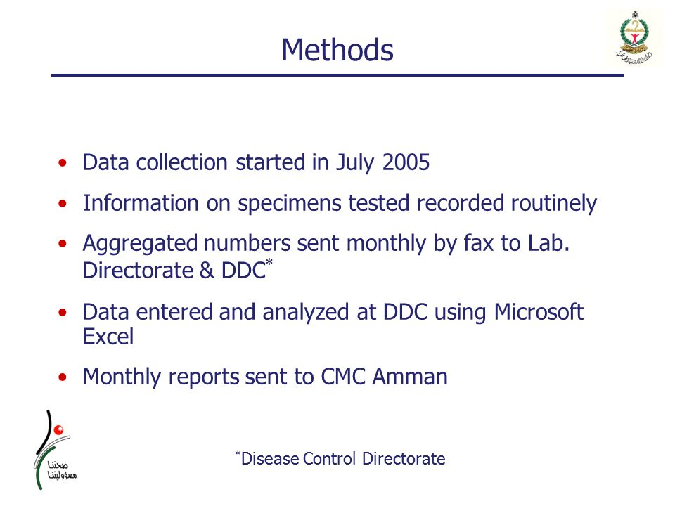 Methods Data collection started in July 2005 Information on specimens tested recorded routinely Aggregated numbers sent monthly by fax to Lab.