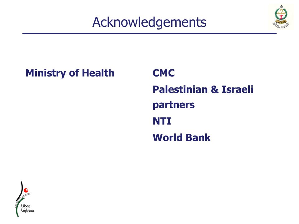 Acknowledgements CMCMinistry of Health Palestinian & Israeli partners NTI World Bank