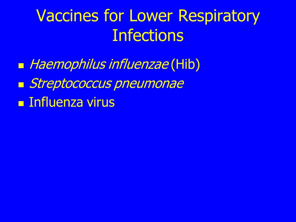 Vaccines for Lower Respiratory Infections Haemophilus influenzae (Hib) Streptococcus pneumonae Influenza virus