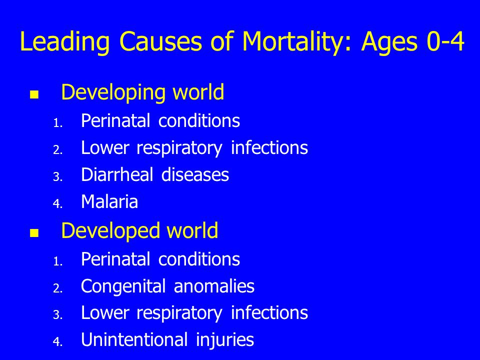 Leading Causes of Mortality: Ages 0-4 Developing world 1.