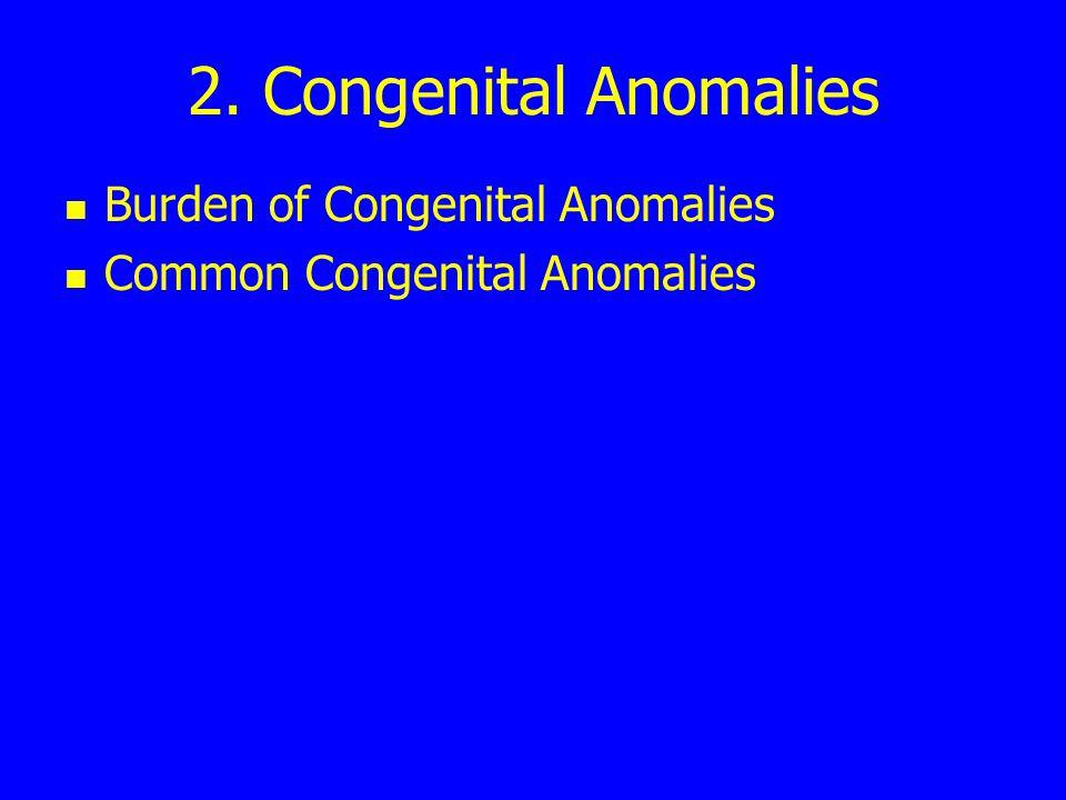 2. Congenital Anomalies Burden of Congenital Anomalies Common Congenital Anomalies