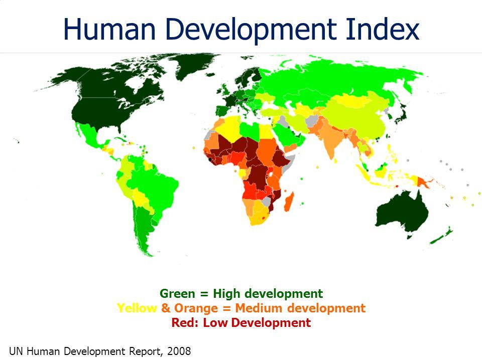 Human Development Index Green = High development Yellow & Orange = Medium development Red: Low Development UN Human Development Report, 2008