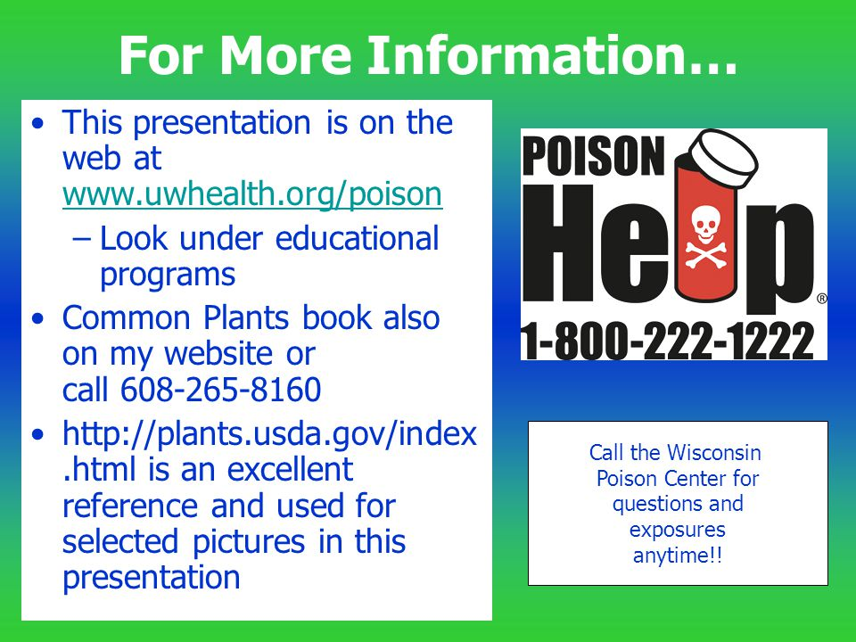 For More Information… This presentation is on the web at www.uwhealth.org/poison www.uwhealth.org/poison –Look under educational programs Common Plant