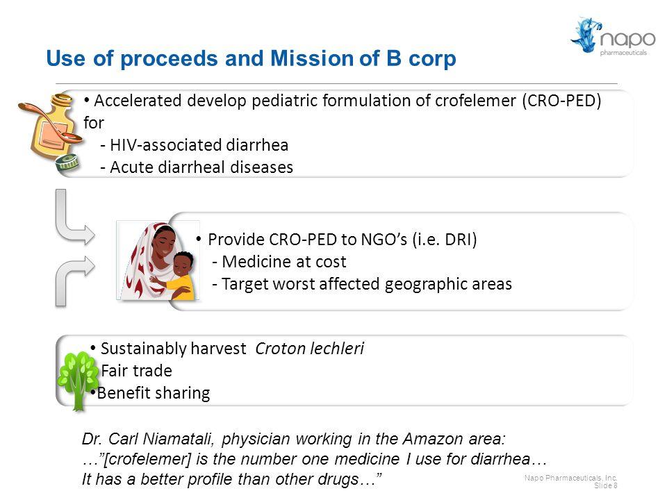 Napo Pharmaceuticals, Inc. Slide 8 Provide CRO-PED to NGO's (i.e.
