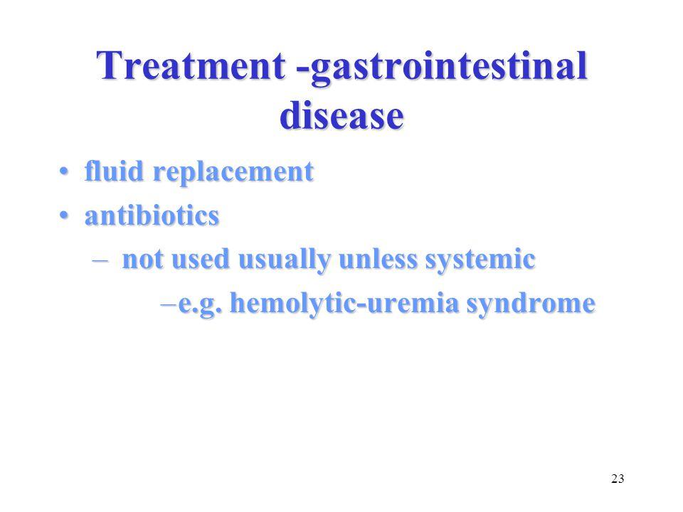 23 Treatment -gastrointestinal disease fluid replacementfluid replacement antibioticsantibiotics – not used usually unless systemic –e.g. hemolytic-ur