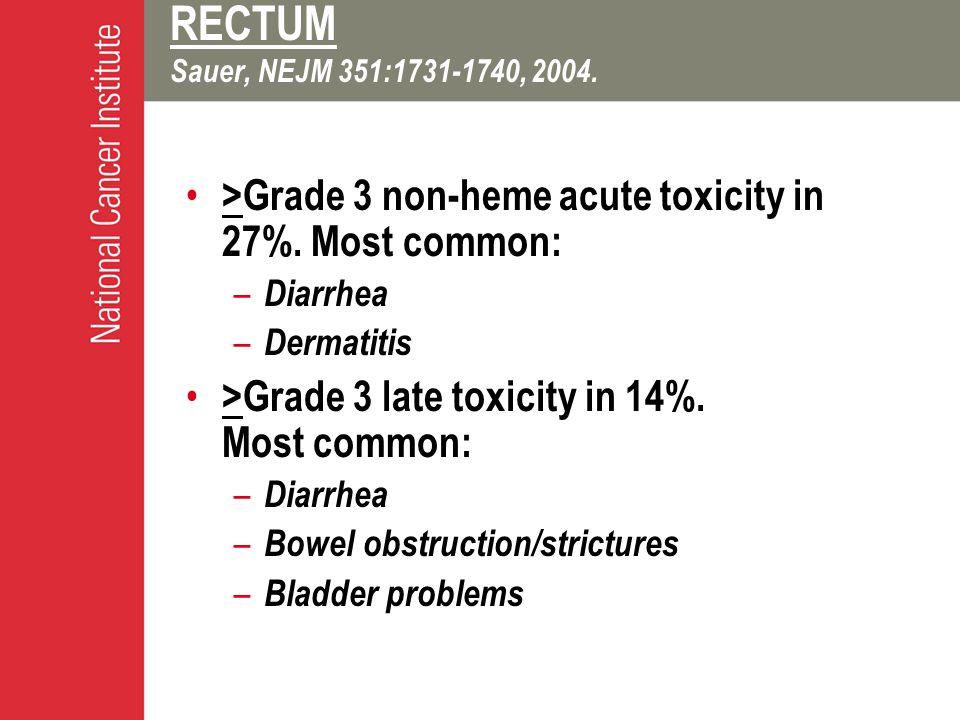 RECTUM Sauer, NEJM 351:1731-1740, 2004. >Grade 3 non-heme acute toxicity in 27%.