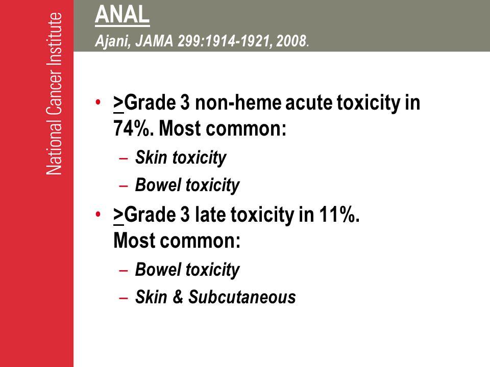 ANAL Ajani, JAMA 299:1914-1921, 2008. >Grade 3 non-heme acute toxicity in 74%.