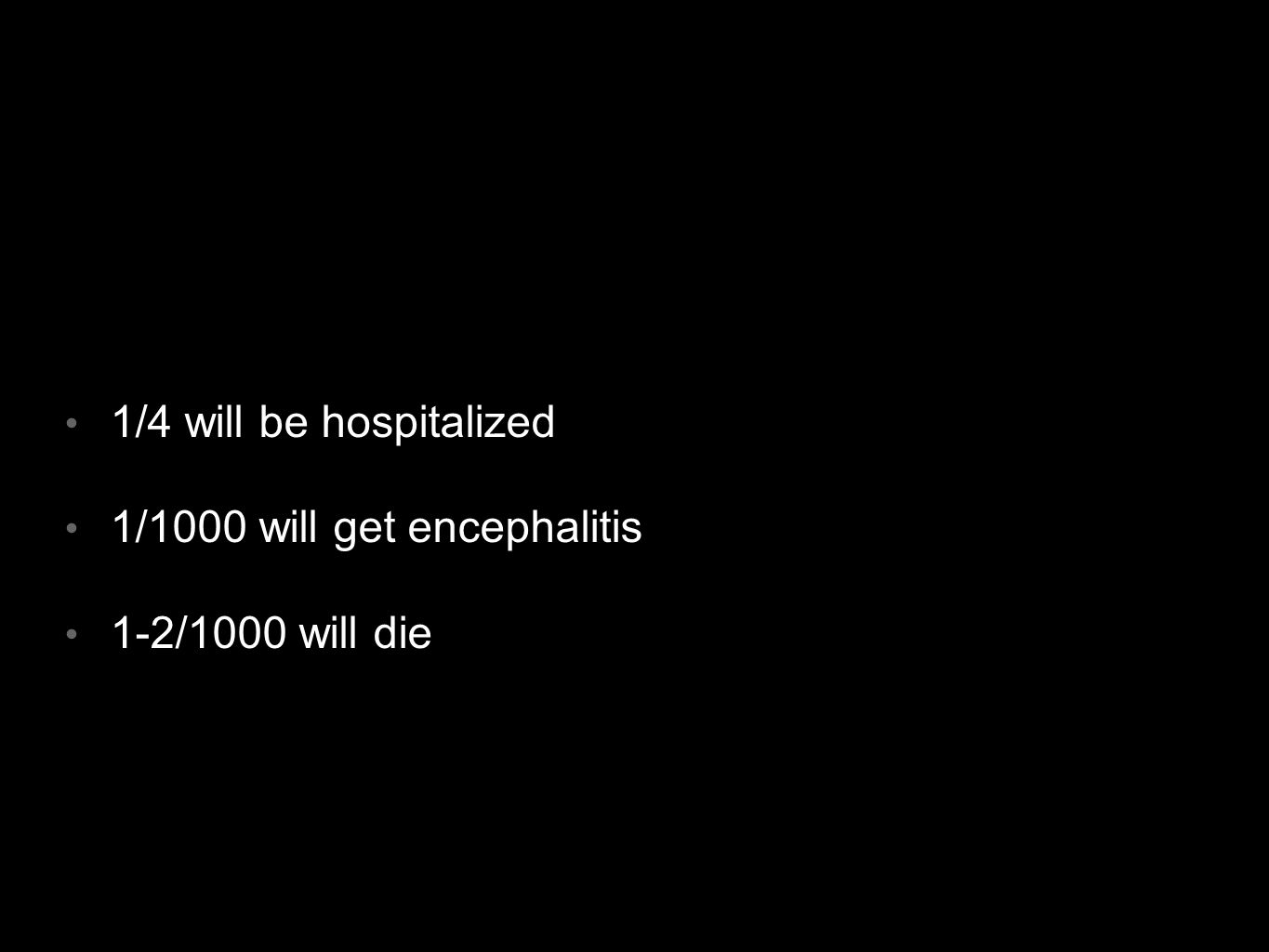 1/4 will be hospitalized 1/1000 will get encephalitis 1-2/1000 will die
