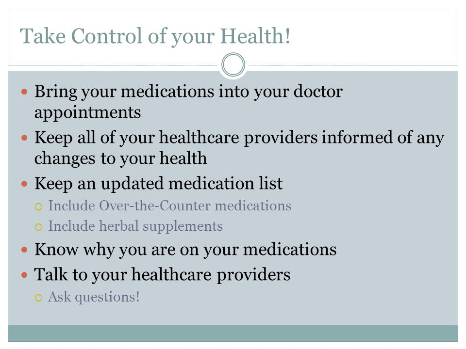 Take Control of your Health.