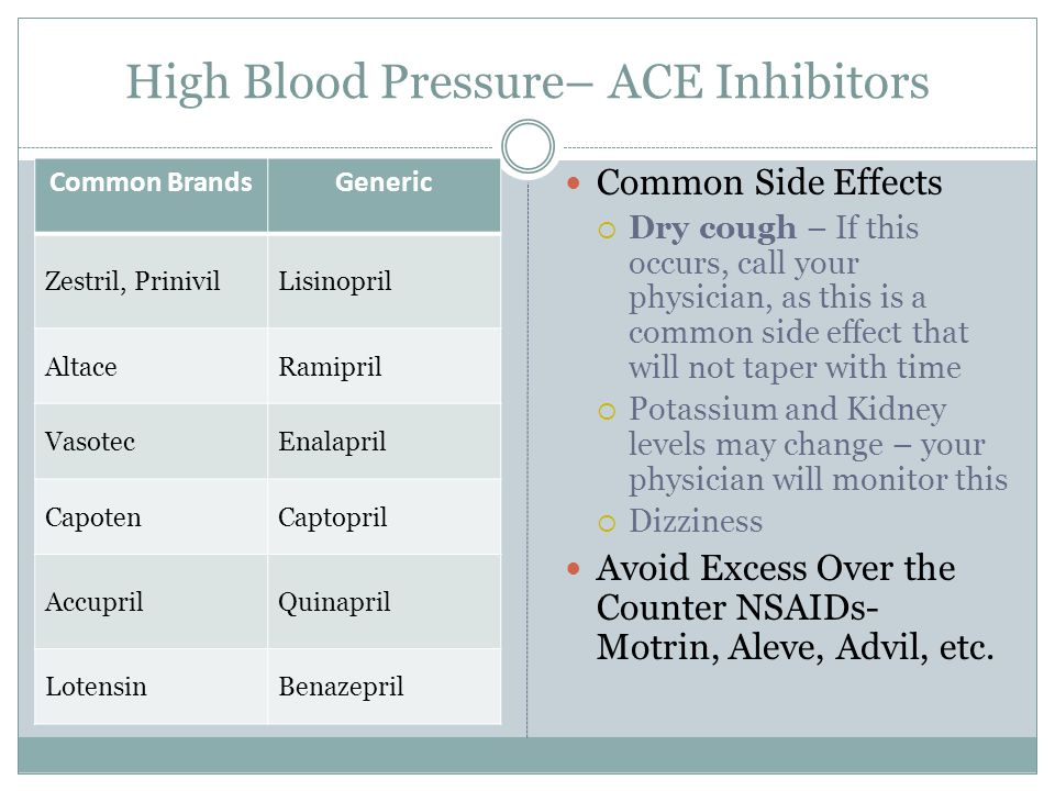 High Blood Pressure– ACE Inhibitors Common BrandsGeneric Zestril, PrinivilLisinopril AltaceRamipril VasotecEnalapril CapotenCaptopril AccuprilQuinapril LotensinBenazepril Common Side Effects  Dry cough – If this occurs, call your physician, as this is a common side effect that will not taper with time  Potassium and Kidney levels may change – your physician will monitor this  Dizziness Avoid Excess Over the Counter NSAIDs- Motrin, Aleve, Advil, etc.