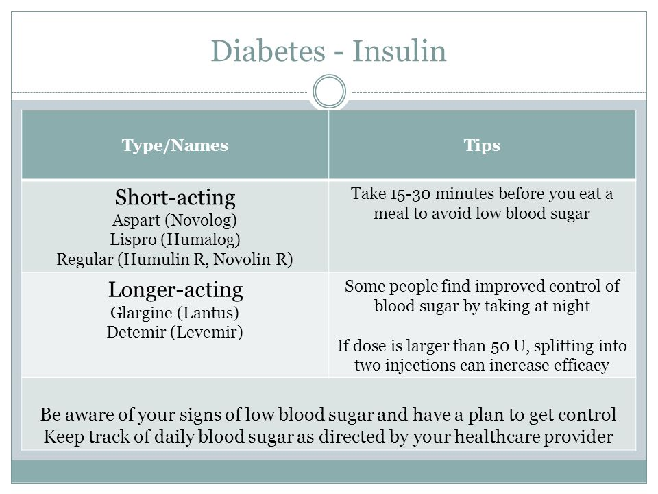 Diabetes - Insulin Type/NamesTips Short-acting Aspart (Novolog) Lispro (Humalog) Regular (Humulin R, Novolin R) Take 15-30 minutes before you eat a meal to avoid low blood sugar Longer-acting Glargine (Lantus) Detemir (Levemir) Some people find improved control of blood sugar by taking at night If dose is larger than 50 U, splitting into two injections can increase efficacy Be aware of your signs of low blood sugar and have a plan to get control Keep track of daily blood sugar as directed by your healthcare provider