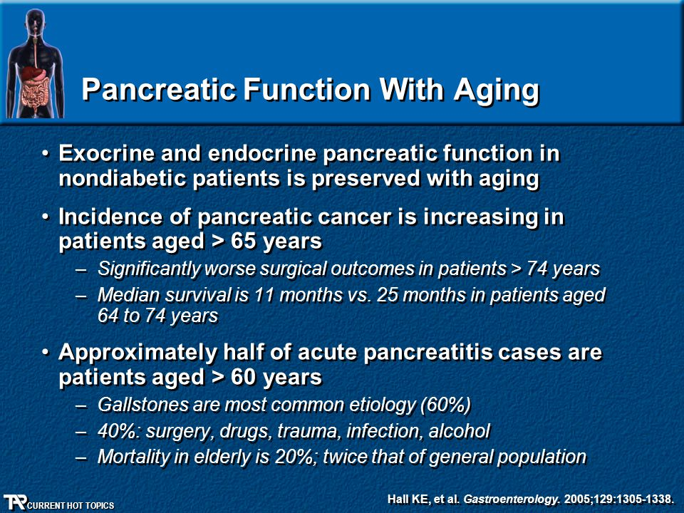 CURRENT HOT TOPICS Pancreatic Function With Aging Exocrine and endocrine pancreatic function in nondiabetic patients is preserved with aging Incidence