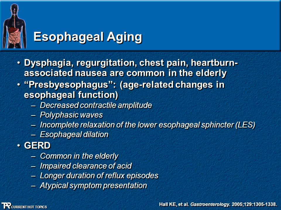 """CURRENT HOT TOPICS Esophageal Aging Dysphagia, regurgitation, chest pain, heartburn- associated nausea are common in the elderly """"Presbyesophagus"""": (a"""