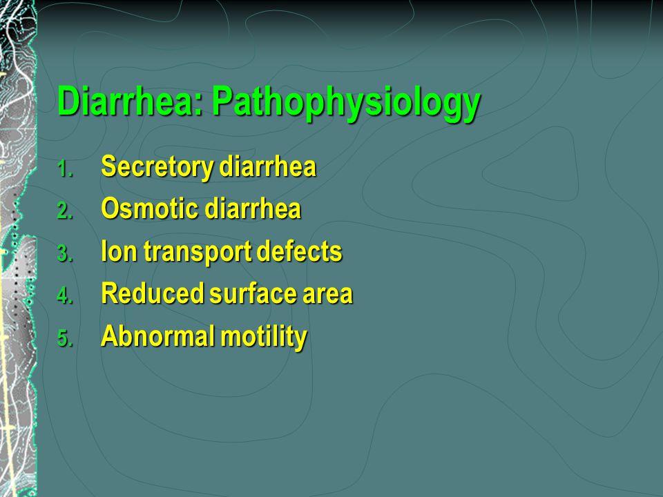 Diarrhea: Pathophysiology 1. Secretory diarrhea 2.