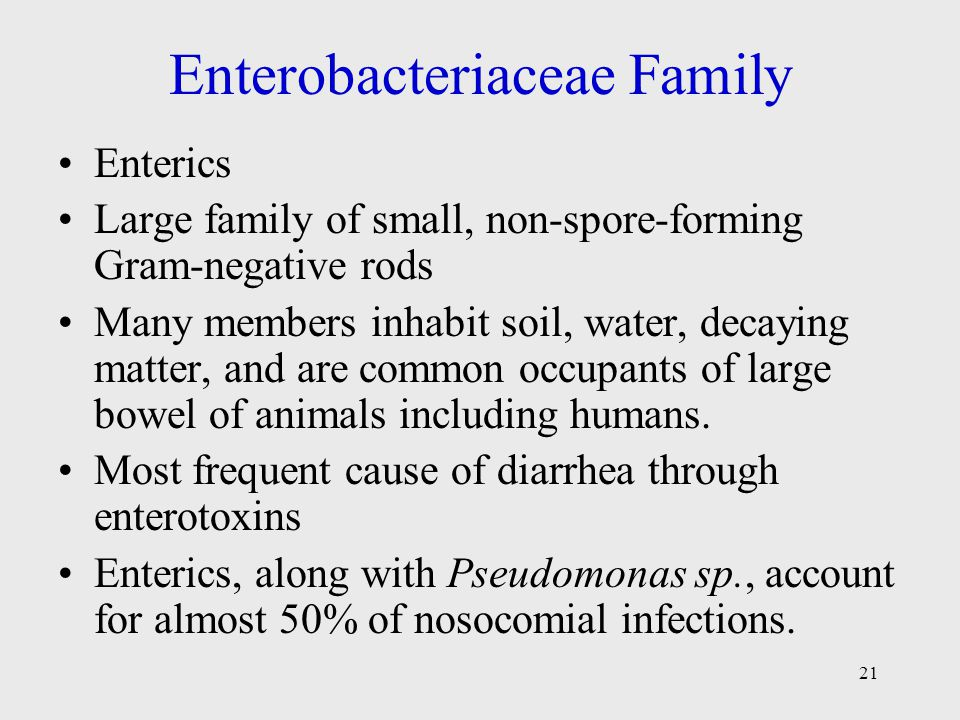 21 Enterobacteriaceae Family Enterics Large family of small, non-spore-forming Gram-negative rods Many members inhabit soil, water, decaying matter, and are common occupants of large bowel of animals including humans.
