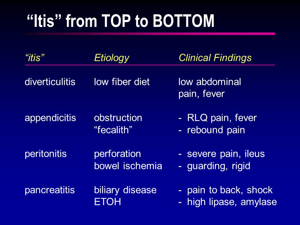 itis EtiologyClinical Findings diverticulitislow fiber dietlow abdominal pain, fever appendicitisobstruction- RLQ pain, fever fecalith - rebound pain peritonitisperforation- severe pain, ileus bowel ischemia- guarding, rigid pancreatitisbiliary disease- pain to back, shock ETOH- high lipase, amylase