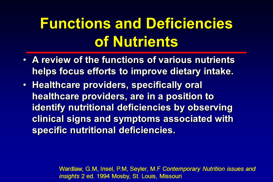 Functions and Deficiencies of Nutrients A review of the functions of various nutrients helps focus efforts to improve dietary intake.