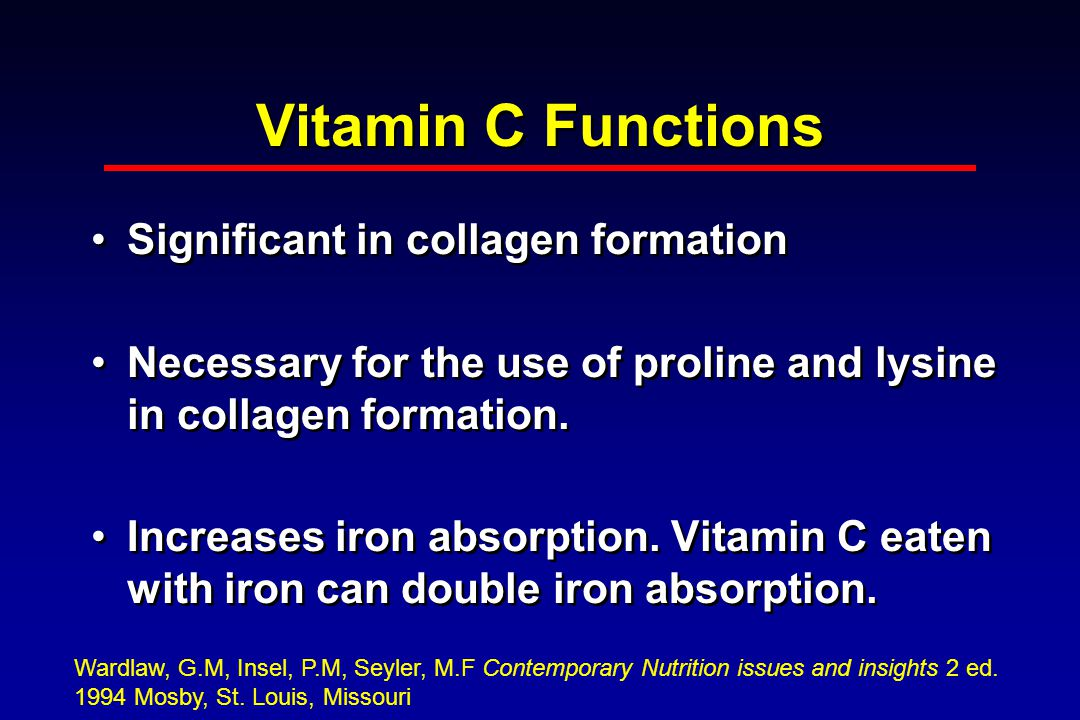 Vitamin C Functions Significant in collagen formation Necessary for the use of proline and lysine in collagen formation.