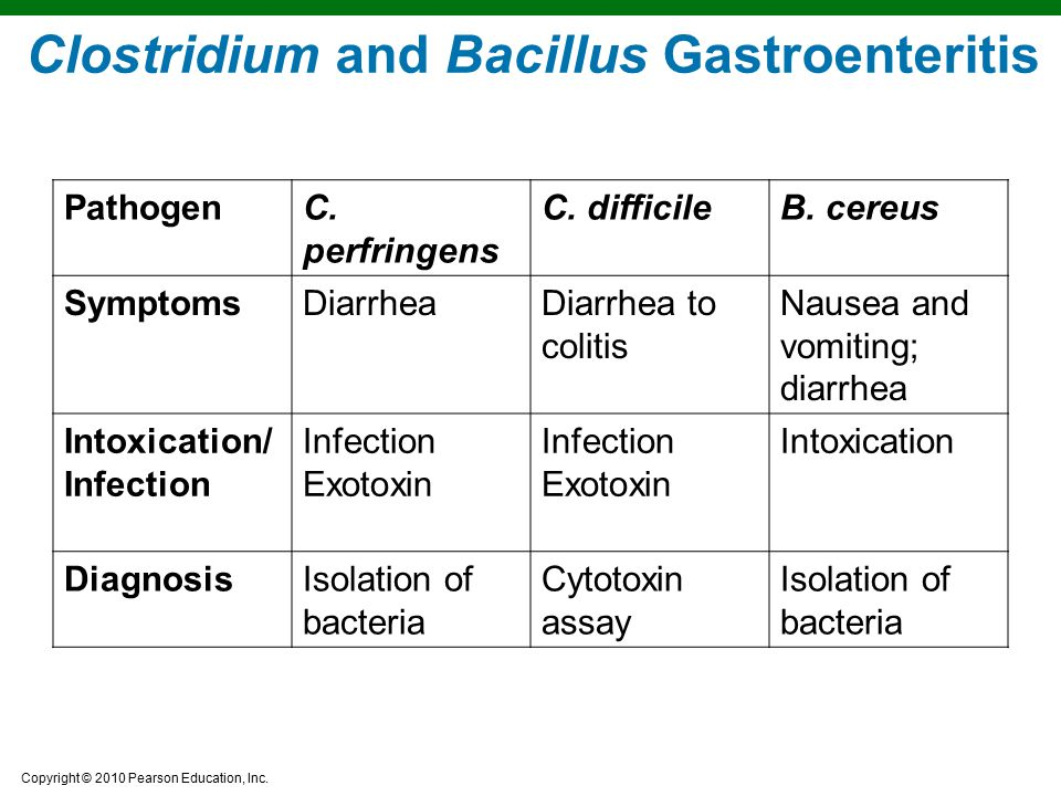 Copyright © 2010 Pearson Education, Inc. Clostridium and Bacillus Gastroenteritis PathogenC. perfringens C. difficileB. cereus SymptomsDiarrheaDiarrhe