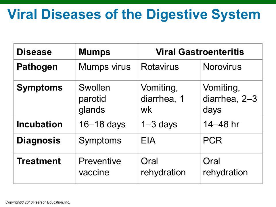 Copyright © 2010 Pearson Education, Inc. Viral Diseases of the Digestive System DiseaseMumpsViral Gastroenteritis PathogenMumps virusRotavirusNoroviru