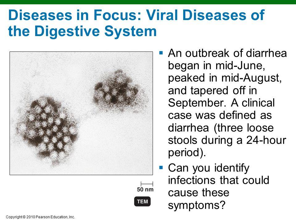 Copyright © 2010 Pearson Education, Inc. Diseases in Focus: Viral Diseases of the Digestive System  An outbreak of diarrhea began in mid-June, peaked