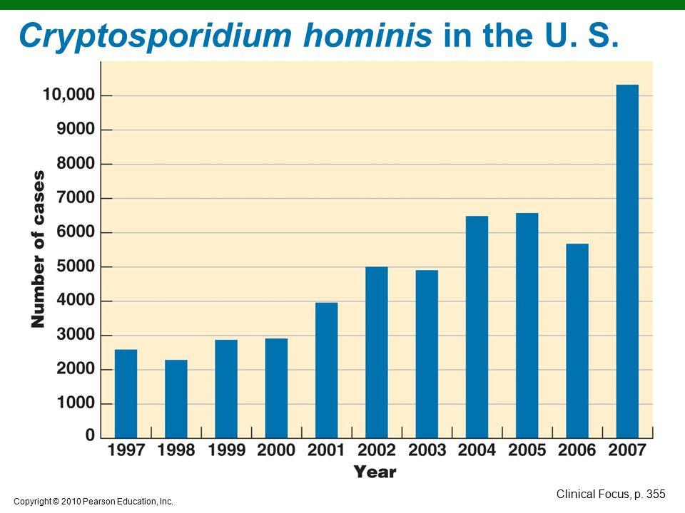 Copyright © 2010 Pearson Education, Inc. Cryptosporidium hominis in the U. S. Clinical Focus, p. 355