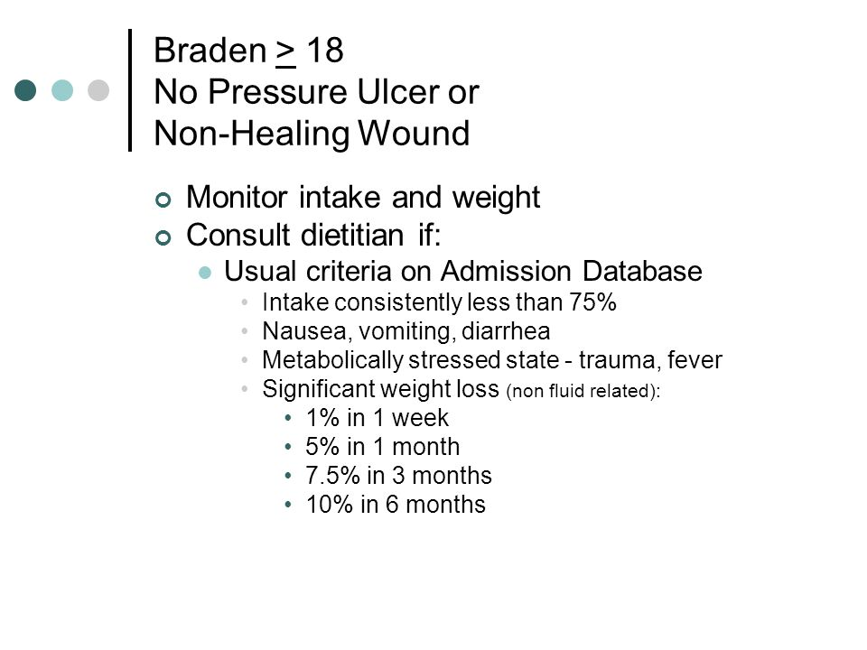 Braden > 18 No Pressure Ulcer or Non-Healing Wound Monitor intake and weight Consult dietitian if: Usual criteria on Admission Database Intake consistently less than 75% Nausea, vomiting, diarrhea Metabolically stressed state - trauma, fever Significant weight loss (non fluid related): 1% in 1 week 5% in 1 month 7.5% in 3 months 10% in 6 months