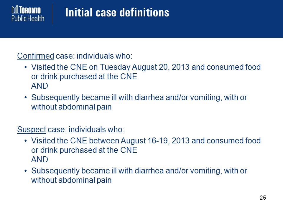 Initial case definitions Confirmed case: individuals who: Visited the CNE on Tuesday August 20, 2013 and consumed food or drink purchased at the CNE AND Subsequently became ill with diarrhea and/or vomiting, with or without abdominal pain Suspect case: individuals who: Visited the CNE between August 16-19, 2013 and consumed food or drink purchased at the CNE AND Subsequently became ill with diarrhea and/or vomiting, with or without abdominal pain 25