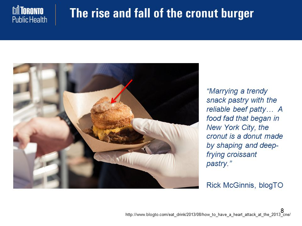 The rise and fall of the cronut burger Marrying a trendy snack pastry with the reliable beef patty… A food fad that began in New York City, the cronut is a donut made by shaping and deep- frying croissant pastry. Rick McGinnis, blogTO http://www.blogto.com/eat_drink/2013/08/how_to_have_a_heart_attack_at_the_2013_cne/ 8