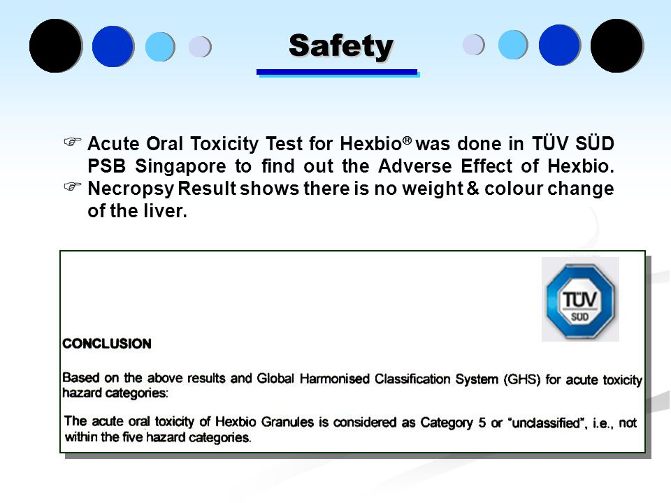 Safety  Acute Oral Toxicity Test for Hexbio  was done in TÜV SÜD PSB Singapore to find out the Adverse Effect of Hexbio.