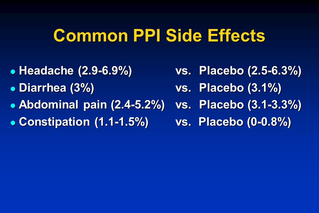 Common PPI Side Effects Headache (2.9-6.9%) vs.Placebo (2.5-6.3%) Headache (2.9-6.9%) vs.Placebo (2.5-6.3%) Diarrhea (3%) vs.Placebo (3.1%) Diarrhea (