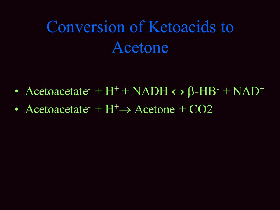 Conversion of Ketoacids to Acetone Acetoacetate - + H + + NADH   -HB - + NAD + Acetoacetate - + H +  Acetone + CO2