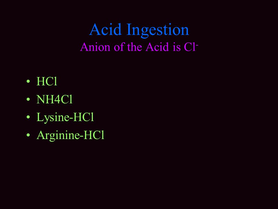 Acid Ingestion Anion of the Acid is Cl - HCl NH4Cl Lysine-HCl Arginine-HCl