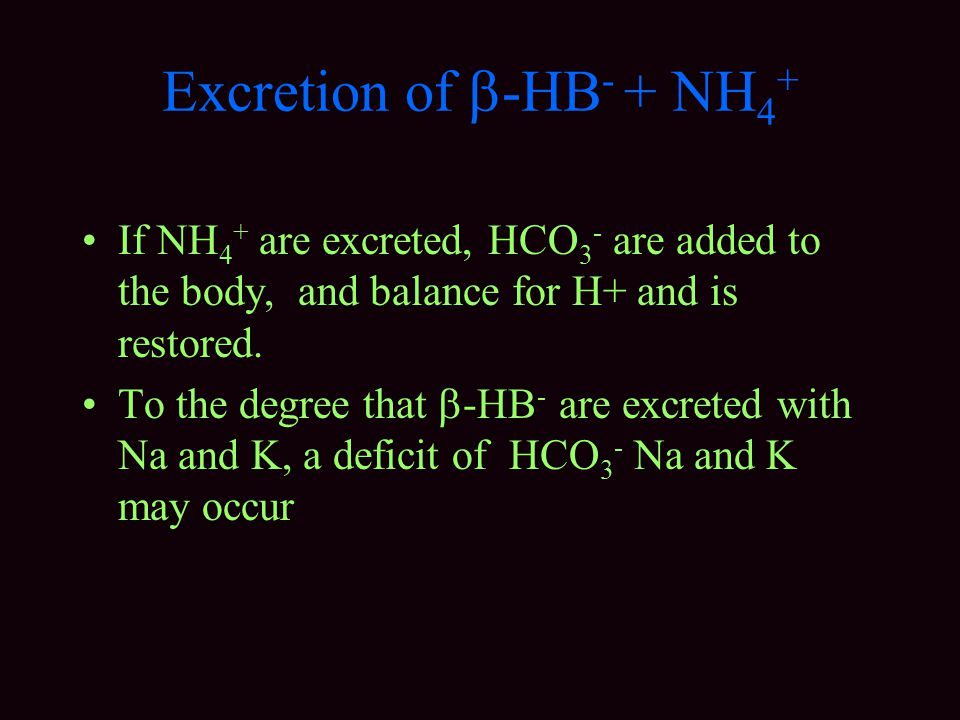 Excretion of  -HB - + NH 4 + If NH 4 + are excreted, HCO 3 - are added to the body, and balance for H+ and is restored.