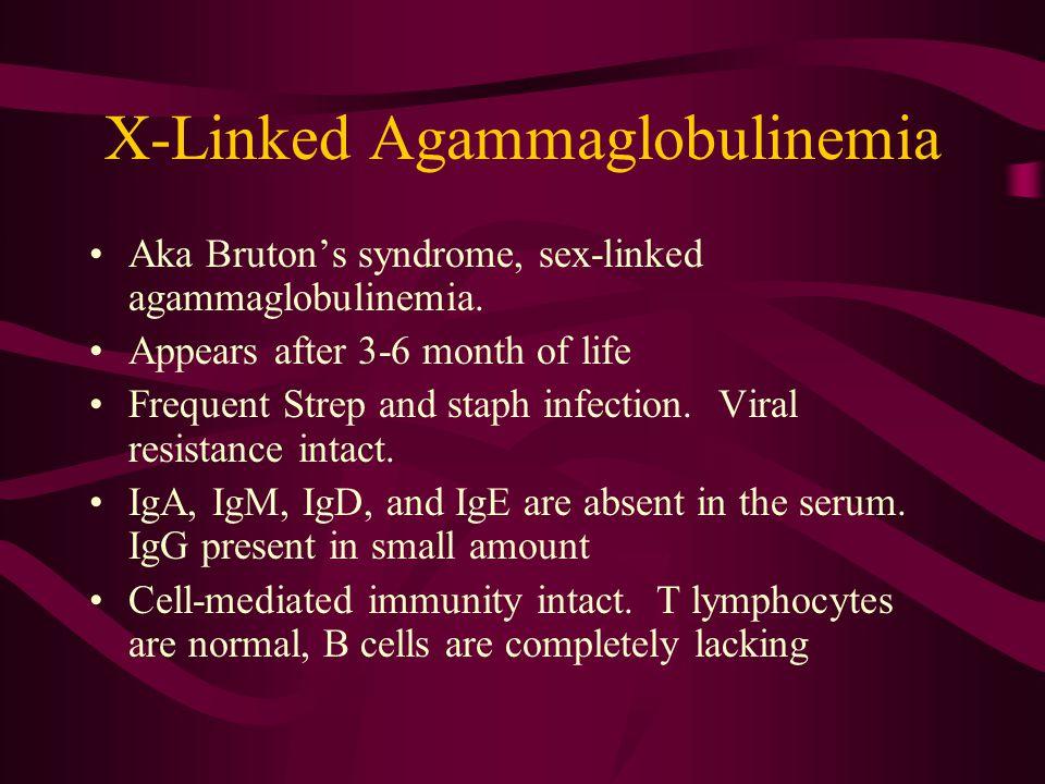 X-Linked Agammaglobulinemia Aka Bruton's syndrome, sex-linked agammaglobulinemia.