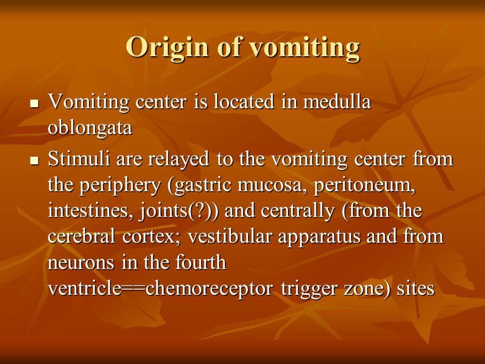 Origin of vomiting Vomiting center is located in medulla oblongata Vomiting center is located in medulla oblongata Stimuli are relayed to the vomiting